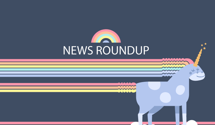 "Unicorn and rainbow with text ""News Roundup"""
