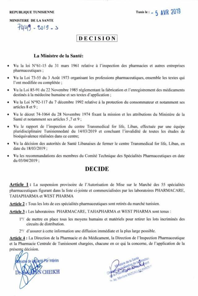 Liste des 55 médicaments suspendus en Tunisie pour invalidité d'étude de Bioéquivalence 2