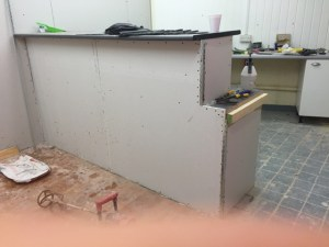Building the counter in the psychotron records shop
