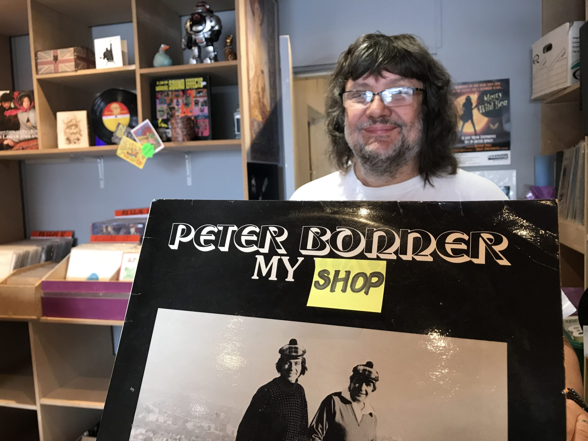 Pete behind the counter in the Boldmere Psychotron shop