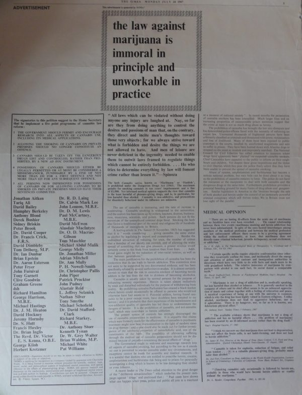 The Times advertisement anti-marijuana laws 1967