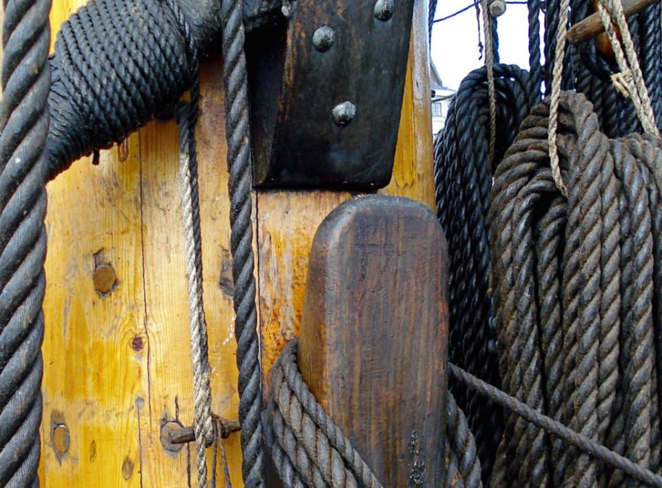 Various types of rigging made of twisted, tarred hemp twine, observed in Helsinki (© Sirkku :))