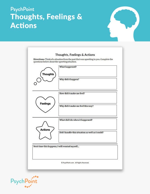 Taking Responsibility For Your Actions Worksheet : taking, responsibility, actions, worksheet, Thoughts,, Feelings, Actions, Worksheet, PsychPoint