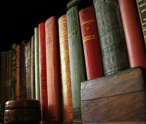 old books shelf photo