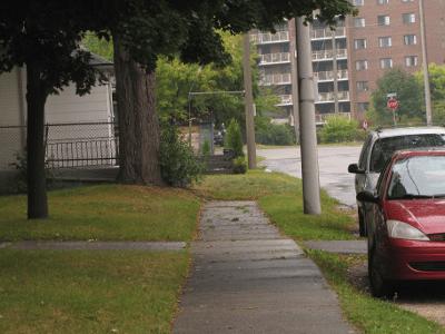 Missing sidewalk on Esson