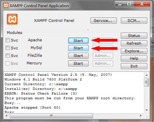 Iniciando os servidores XAMPP