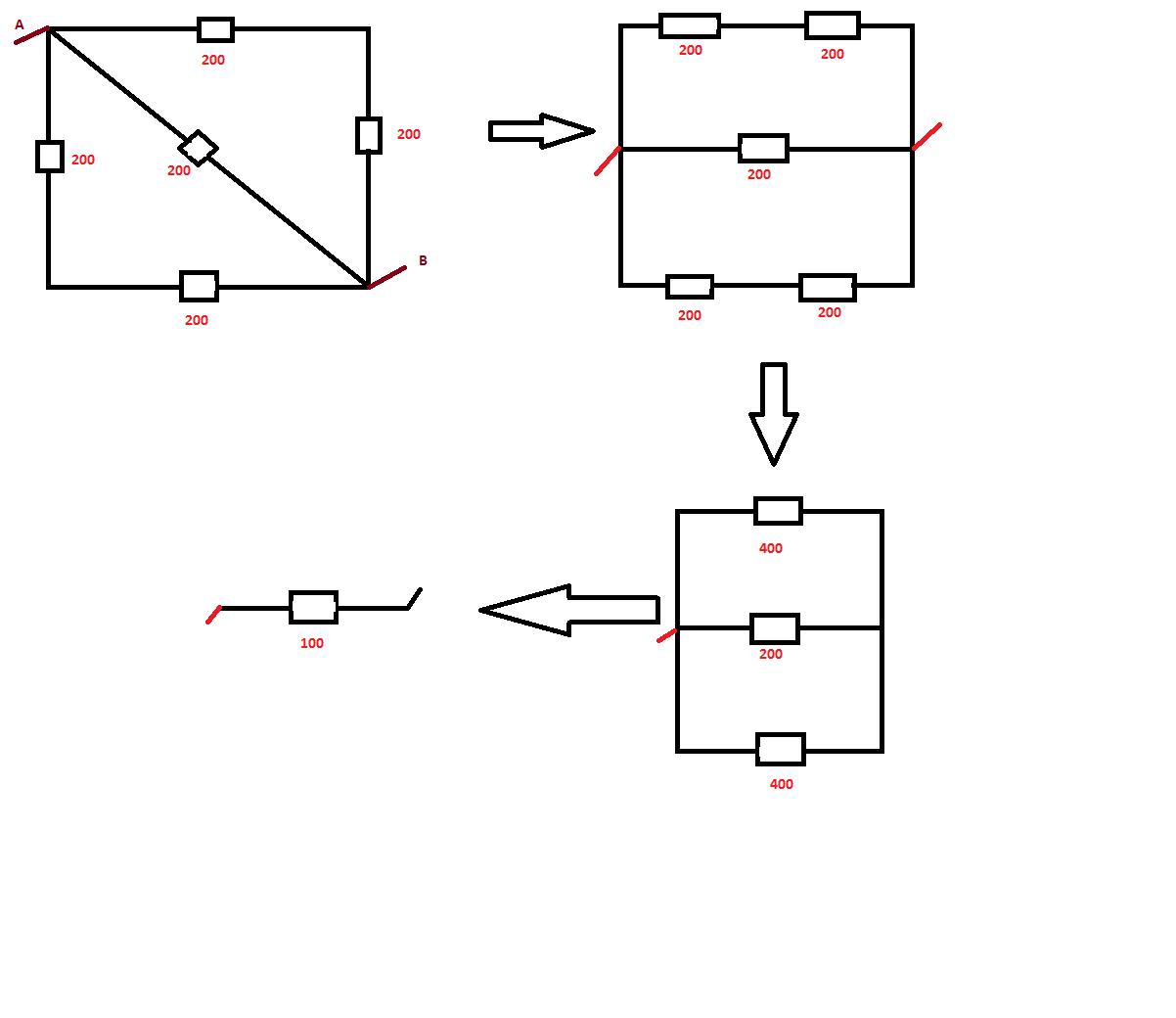 Cinco Resistores De 200 Ohm Cada Sao Ligados Formando Um Quadrado Com Uma Diagonal Qual A