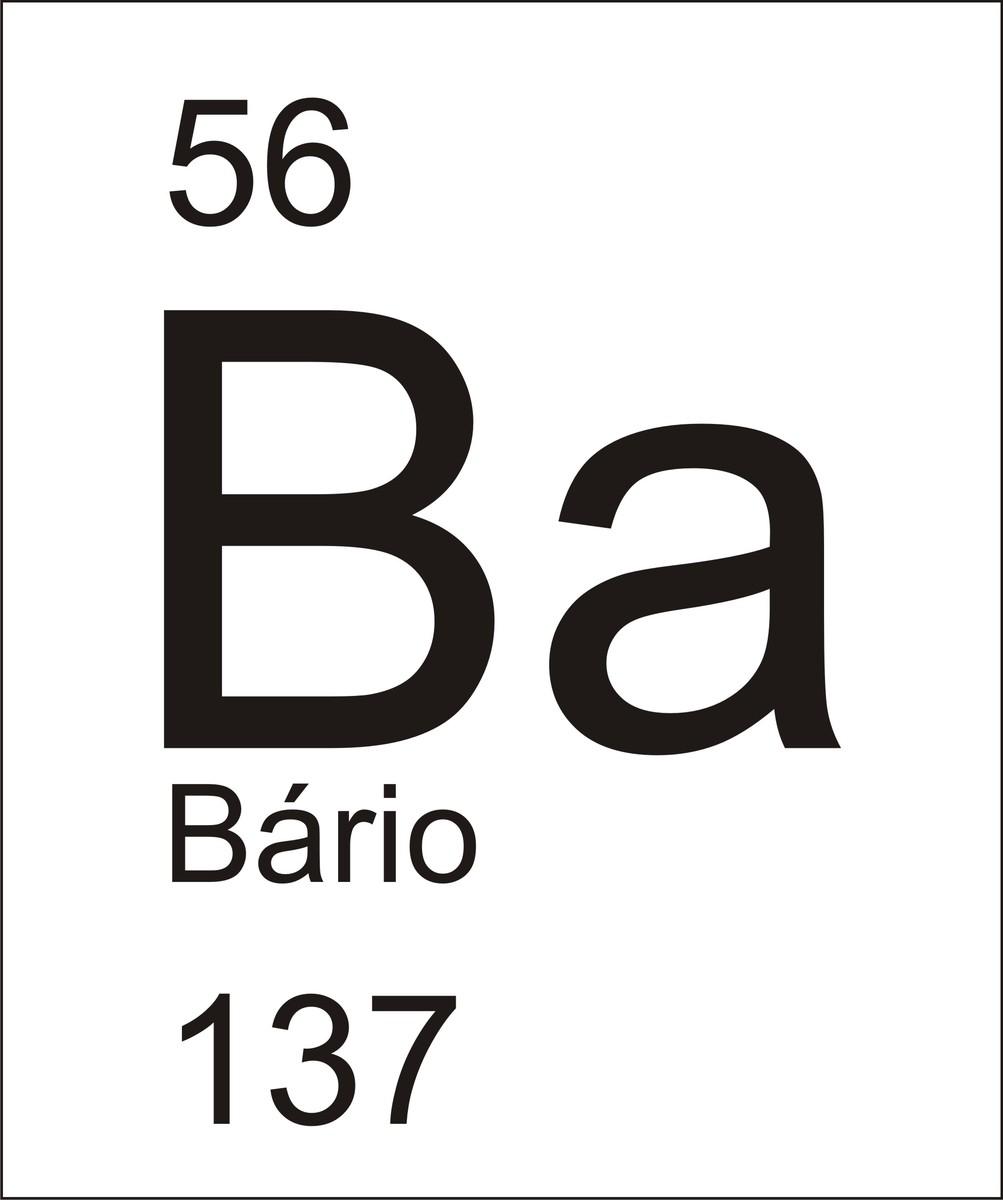 represente o elemento Bário cujo símbolo é Ba e apresebta