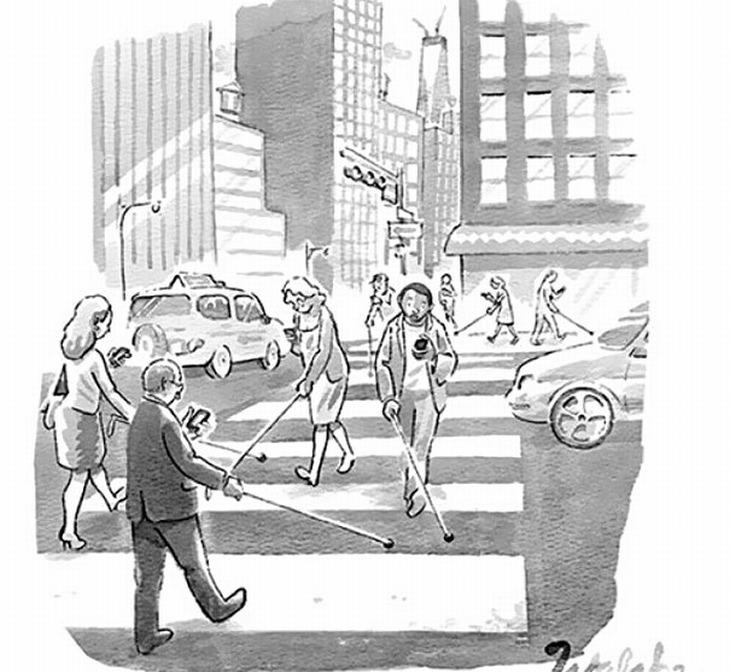 cartoons sobre vício em celular