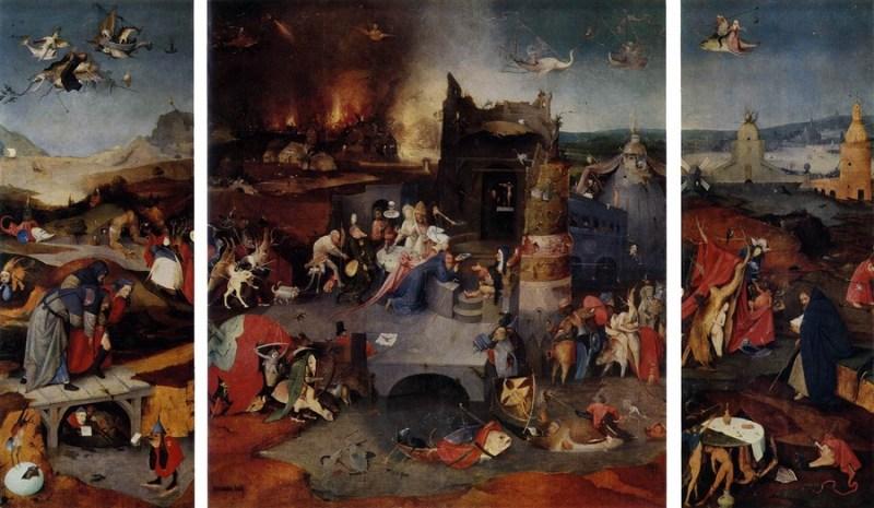 As tentações de Santo Antônico (triptício), de Hieronymus Bosch, 1505-1506. Retrata os horrores de uma sociedade corrompida, não apenas o demônio, mas seus simbolismos.
