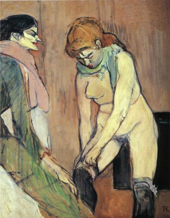 Quadro Mulher puxando a meia, 1894, Toulouse-Lautrec