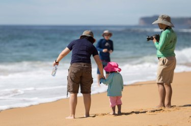 tentative first steps to the water - forresters beach