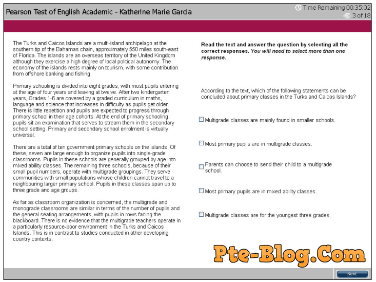 PTE Academic Overview Part 2 Reading choose multiple answers