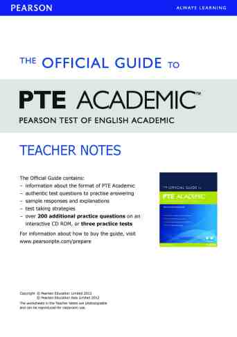 THE OFFICIAL GUIDE TO PTE ACADEMIC - Teacher Note