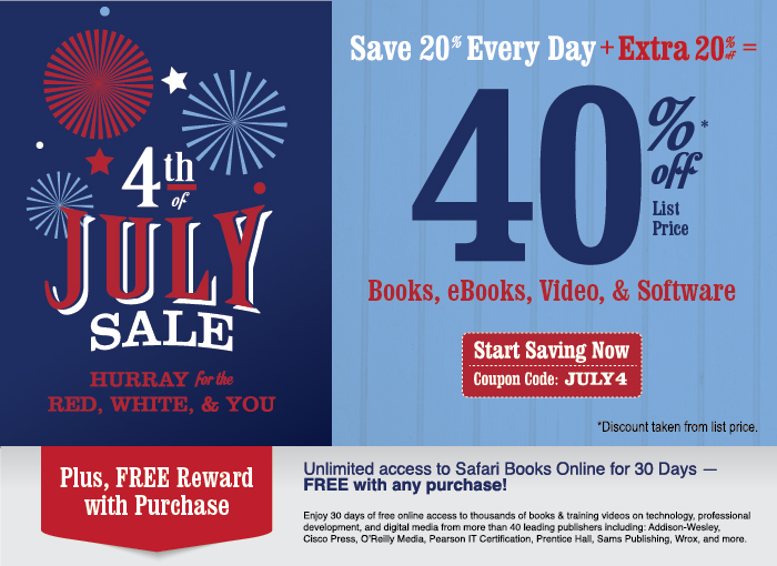 Save 40% on Books, eBooks, Video, and Software in the Fourth of July Sale from Cisco Press