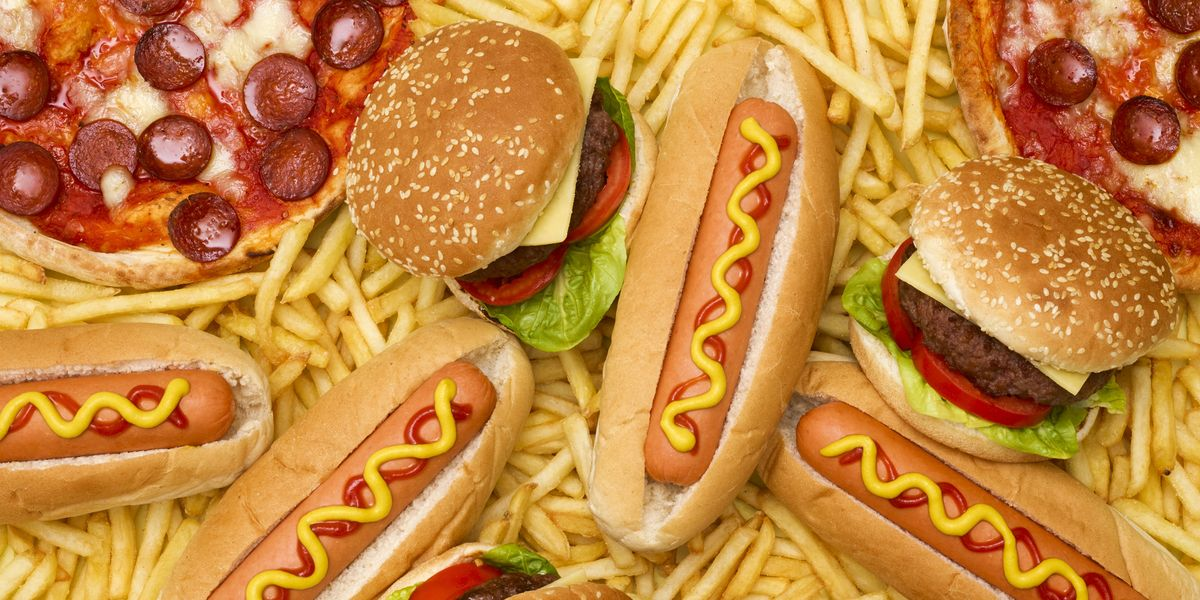 Ejemplos de comida gratis: Hamburguesa, pizza, papas, hotdog