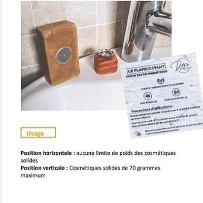 Porte savon aimanté en bois, fabrication artisanale et locale