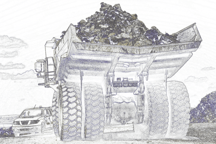 truck transportin material to a crusher