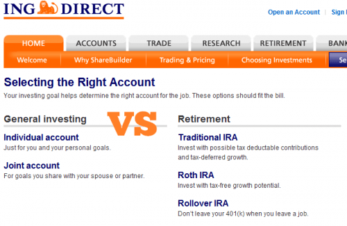 Discount Online Broker ShareBuilder Account Options