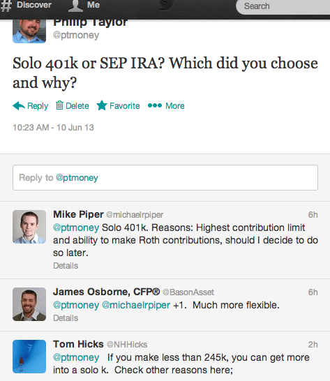 Twitter Solo 401k vs SEP IRA
