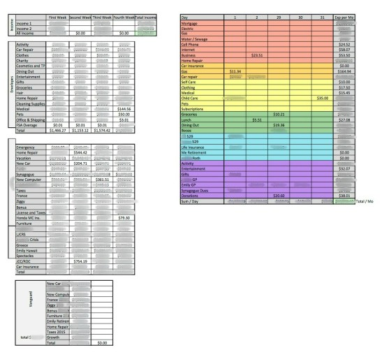 Blurred Excel Budgeting