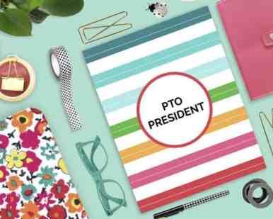 Printable PTO President's Success Kit on colorful desktop