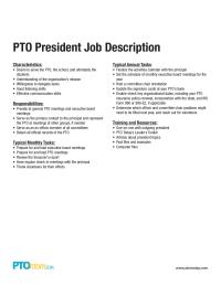 Pto President Job Description  Pto Today