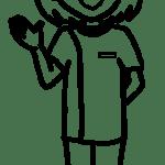【女性ポーズ:右手を出す – 白黒線画】リハビリセラピスト(PT・OT・ST)-