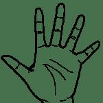 【手 – 白黒線画】左手(手掌面)- リハイラスト