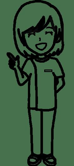 【女性ポーズ:指差しポイント - 白黒線画】リハビリセラピスト(PT・OT・ST)- リハイラスト