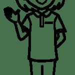 【女性ポーズ:ポロシャツ 右手を出す – 白黒線画】リハビリセラピスト(PT