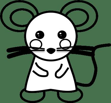 【季節イラスト - 塗り絵用】年賀状イラスト:子年用ネズミイラストB(子供)その2 - 透過PNG画像ファイル:リハイラスト(リハビリ専門家のためのイラスト無料素材集)
