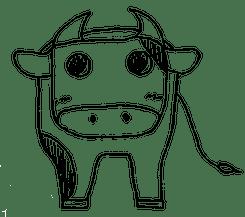 【季節イラスト】年賀状イラスト:丑年用牛のボールペン手書き線画イラスト(親牛) - 透過PNG画像ファイル:リハイラスト(リハビリ専門家のためのイラスト無料素材集)