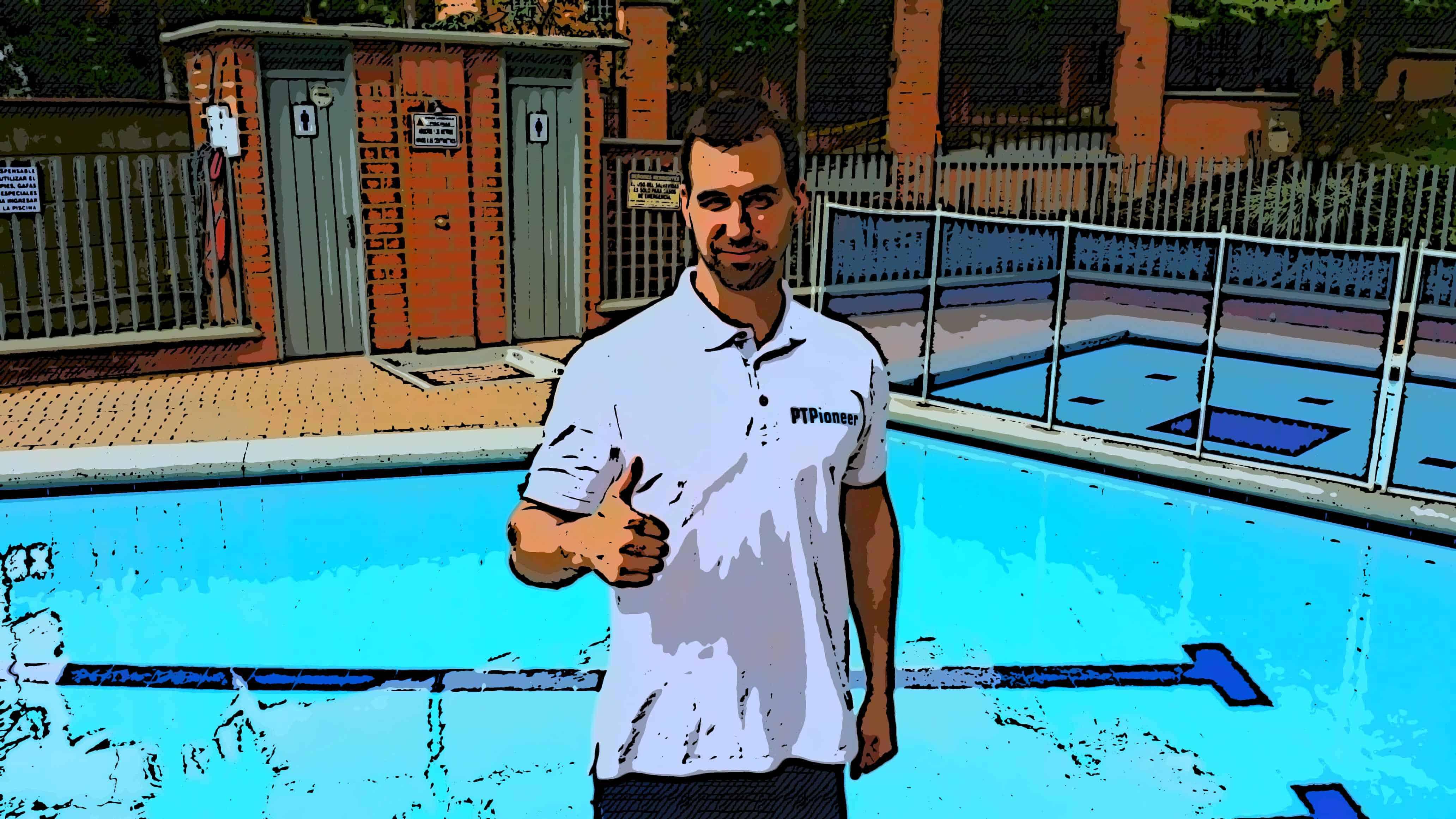 Me teaching water aerobics