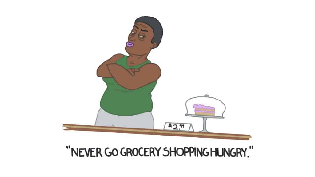 never go grocery shopping hungry