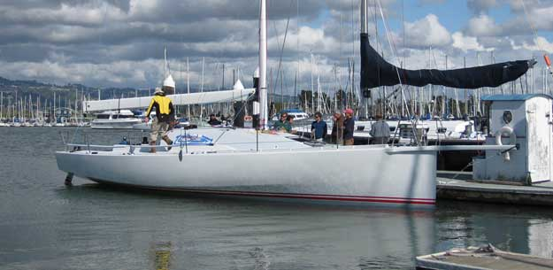 California Condor, a new Open 40 designed by Jim Antrim and Built at Berkeley Marine recently launched in the Bay Area