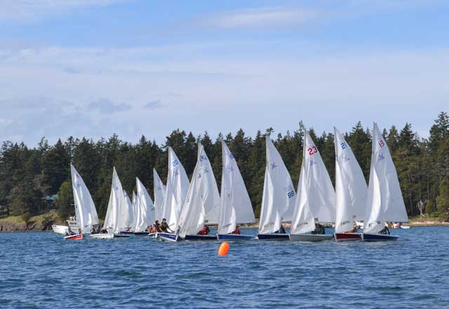 Start 2 at the Island Cup. High School sailing is taking off on the Salish Sea. Photo by Erik Coburn