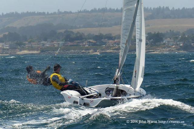 Dan and Piper power reaching in Santa Cruz breeze. Photo by John Navas