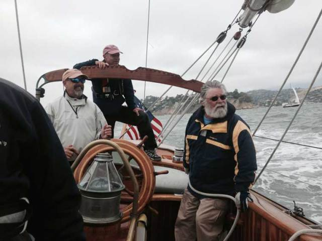 Ted Pike made the journey from Port Townsend to visit and sail on MARTHA,  It's good to see friends from Port Townsend.  Edensaw Woods has been a strong supporter of our endeavors at the Schooner Martha Foundation and we thank them for their support.