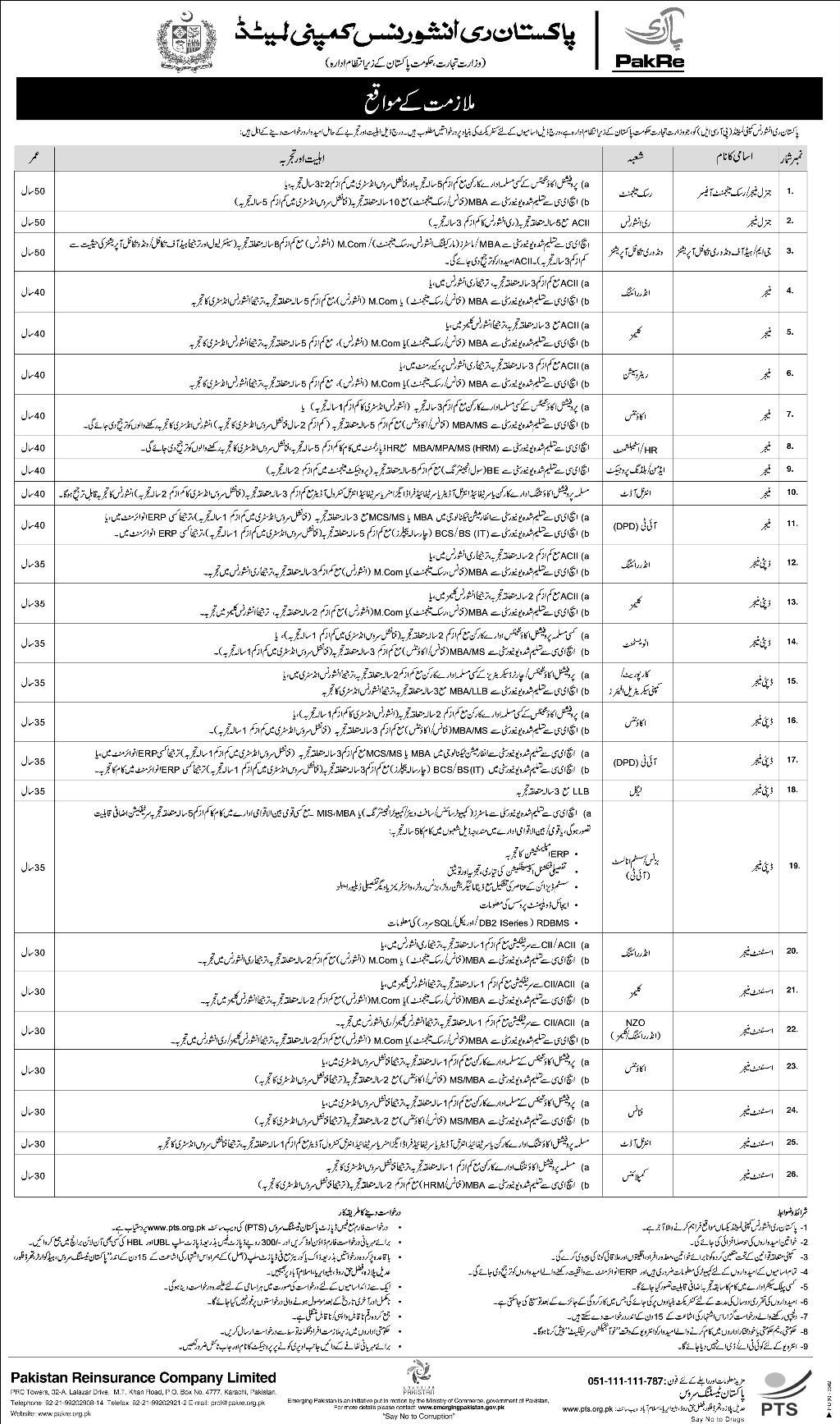 Pakistan Reinsurance Company Limited Jobs 2019 PTS