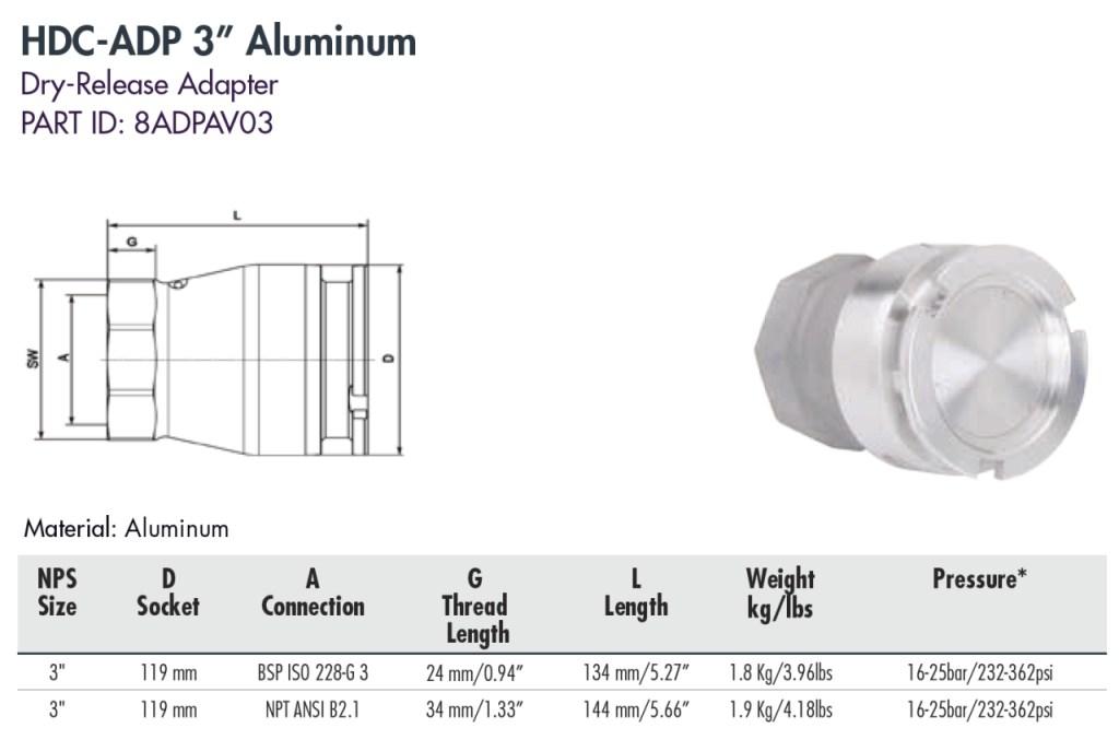 """HDC-ADP 3"""" Aluminum"""