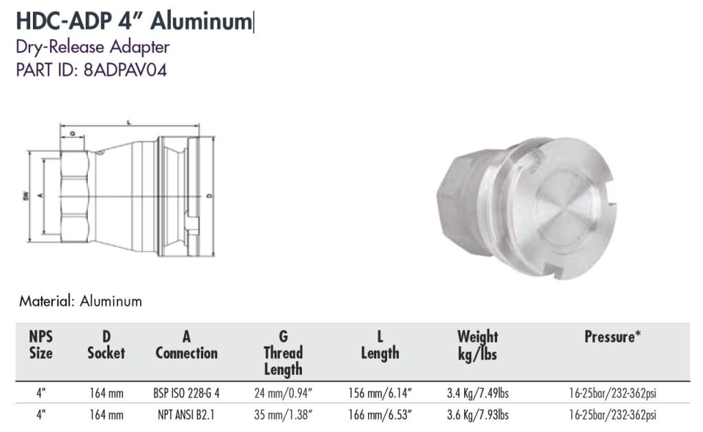 """HDC-ADP 4"""" Aluminum"""
