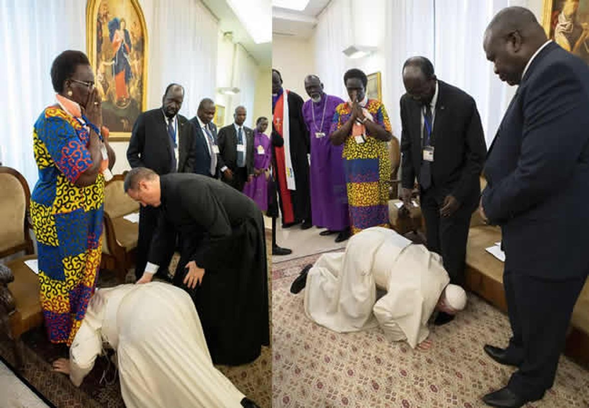 PHOTOS: Pope kisses feet of South Sudan leaders, urges them to maintain peace