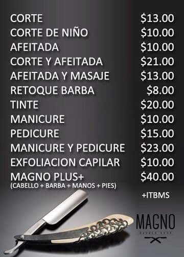 Prices of some of the services offered at Magno