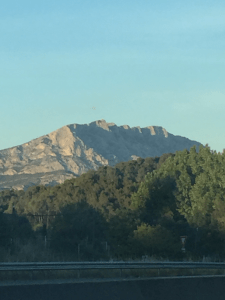 View of Mont Saint-Victoire from the car window in Aix-en- Provence