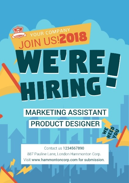 Sections include applicant information, education, references, previous employment, and military service. Online Hiring Poster Template Fotor Design Maker