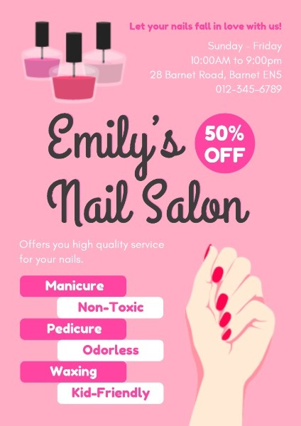 online nail salon poster template