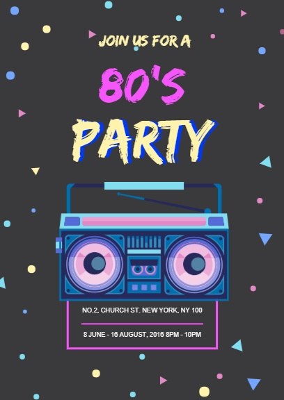 online 80 s party invitation template