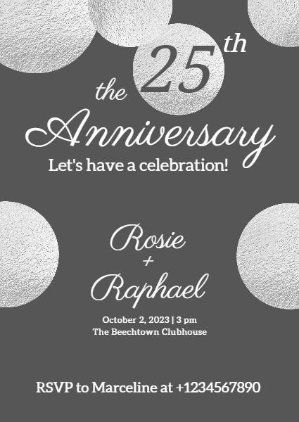 online 25th anniversary invitation