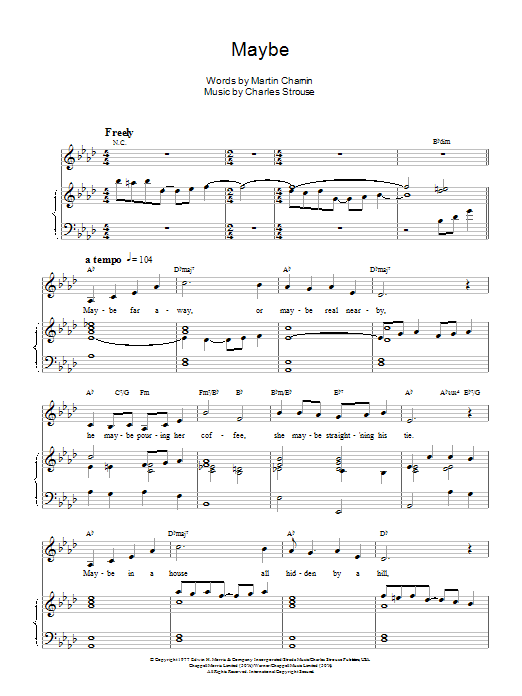Maybe Annie Sheet Music : maybe, annie, sheet, music, Maybe, Sheet, Music, Annie, (Musical), Piano/Keyboard, Voice, Noteflight, Marketplace